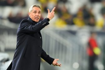 Bordeaux's Portuguese head coach Paulo Sousa gestures  during the French L1 football match between FC Girondins de Bordeaux and Dijon Football Cote-D'Or at the Matmut Atlantique stadium in Bordeaux, southwestern France, on February 15, 2020. (Photo by NICOLAS TUCAT / AFP) (Photo by NICOLAS TUCAT/AFP via Getty Images)