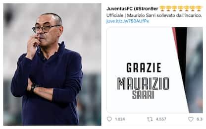 Juventus, Maurizio Sarri esonerato: c'è l'ufficialità del club