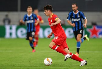 Leverkusen's German midfielder Kai Havertz plays the ball during the UEFA Europa League quarter-final football match Inter Milan v Bayer 04 Leverkusen at the Duesseldorf Arena on August 10, 2020 in Duesseldorf, western Germany. (Photo by Dean Mouhtaropoulos / POOL / AFP) (Photo by DEAN MOUHTAROPOULOS/POOL/AFP via Getty Images)