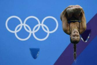 Italy's Tania Cagnotto competes in the Women's 3m Springboard Final during the diving event at the Rio 2016 Olympic Games at the Maria Lenk Aquatics Stadium in Rio de Janeiro on August 14, 2016.   / AFP / CHRISTOPHE SIMON        (Photo credit should read CHRISTOPHE SIMON/AFP via Getty Images)