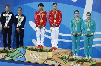 From left : Silver medallists Italy's Francesca Dallape and Tania Cagnotto, gold medallists China's Shi Tingmao and Wu Minxia, bronze medallists Australia's Maddison Keeney and Anabelle Smith pose during the podium ceremony of the Women's Synchronized 3m Springboard final event at the Rio 2016 Olympic Games at the Maria Lenk Aquatics Stadium in Rio de Janeiro on August 7, 2016.  China's Wu Minxia and China's Shi Tingmao won the gold, Italy's Tania Cagnotto and Italy's Francesca Dallape took the silver and Australia's Maddison Keeney and Australia's Anabelle Smith took the bronze.  / AFP / Odd Andersen        (Photo credit should read ODD ANDERSEN/AFP via Getty Images)
