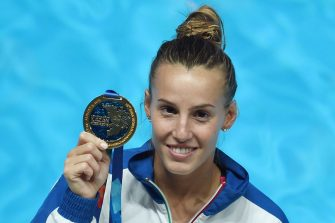 Italian diver Tania Cagnotto poses with her gold medal during the podium ceremony of the Women's 1m Springboard final diving event at the 2015 FINA World Championships in Kazan on July 28, 2015.  AFP PHOTO / CHRISTOPHE SIMON        (Photo credit should read CHRISTOPHE SIMON/AFP via Getty Images)