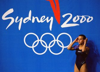 27 Sep 2000:  Tania Cagnotto of Italy in action in the Women's 3m Springboard competition at the Sydney 2000 Olympic Games in Sydney, Australia. \ Mandatory Credit: Ross Kinnaird /Allsport