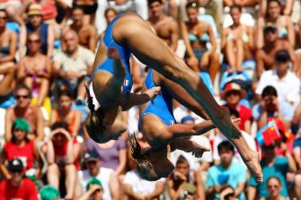 ROME - JULY 24:  Tania Cagnotto and Francesca Dallape of Italy compete in the Women's 3m Synchro Springboard during the 13th FINA World Championships at the Stadio del Nuoto on July 24, 2009 in Rome, Italy.  (Photo by Lars Baron/Getty Images)