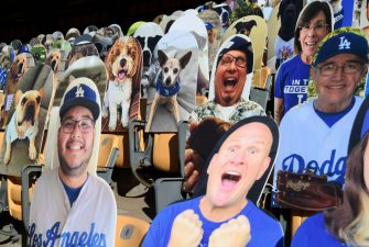 LOS ANGELES, CA - AUGUST 10: Cardboard cutouts of pets and fans are placed in the stands during the game between the San Diego Padres and Los Angeles Dodgers at Dodger Stadium on August 10, 2020 in Los Angeles, California. Dodger fans, for $149, can now purchase cutouts for the stands. Proceeds from the sale of cutouts will benefit the Los Angeles Dodgers Foundation, the Dodgers' official charitable organization.  (Photo by Kevork Djansezian/Getty Images)