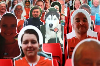 LONDON, ENGLAND - JUNE 27: A cardboard cut-out of dog within Charlton supporters in the stands prior to the Sky Bet Championship match between Charlton Athletic and Queens Park Rangers at The Valley on June 27, 2020 in London, England. (Photo by Alex Pantling/Getty Images)