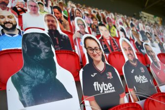 EXETER, ENGLAND - JUNE 22:  A cardboard cut out of a fan's dog is displayed in the stand prior to the Sky Bet League Two Play Off Semi-final 2nd Leg match between Exeter City and Colchester United at St James Park on June 22, 2020 in Exeter, England. (Photo by Dan Mullan/Getty Images)