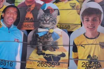 OXFORD, ENGLAND - JULY 06: A cardboard cutout of a cat in the stand during the Sky Bet League One Play Off Semi-final 2nd Leg match between Oxford United and Portsmouth FC at Kassam Stadium on July 6, 2020 in Oxford, England. Football Stadiums around Europe remain empty due to the Coronavirus Pandemic as Government social distancing laws prohibit fans inside venues resulting in all fixtures being played behind closed doors. (Photo by James Williamson - AMA/Getty Images)