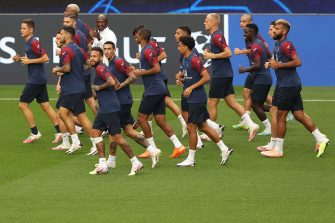 Paris Saint-Germain's players run during a training session at the Luz stadium in Lisbon on August 11, 2020 on the eve of the UEFA Champions League quarter-final football match between Atalanta and Paris Saint-Germain. (Photo by RAFAEL MARCHANTE / POOL / AFP) (Photo by RAFAEL MARCHANTE/POOL/AFP via Getty Images)