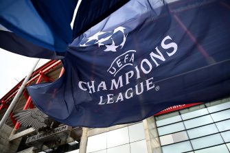 A UEFA Champions League flag flutters outside the Luz stadium in Lisbon on August 11, 2020 on the eve of the UEFA Champions League quarter-final football match between Atalanta and Paris Saint-Germain. (Photo by FRANCK FIFE / POOL / AFP) (Photo by FRANCK FIFE/POOL/AFP via Getty Images)