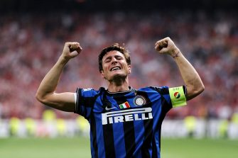 MADRID, SPAIN - MAY 22: Javier Zanetti of Inter Milan celebrates his team victory at the end of the UEFA Champions League Final match between FC Bayern Muenchen and Inter Milan at the Estadio Santiago Bernabeu on May 22, 2010 in Madrid, Spain.  (Photo by Jasper Juinen/Getty Images)