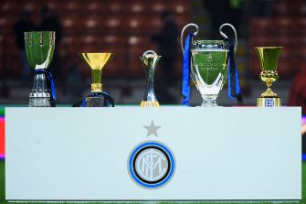 MILAN, ITALY - JANUARY 06:  The five trophies (L-R) the Supercoppa Italiana, the Scudetto trophy, the FIFA Club World Cup trophy, the Champions League trophy and the Coppa Italia won by Inter are displayed before the Serie A match between FC Internazionale Milano and SSC Napoli at Stadio Giuseppe Meazza on January 6, 2011 in Milan, Italy.  (Photo by Valerio Pennicino/Getty Images)