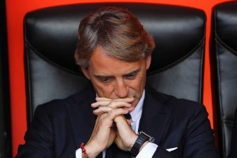 MILAN, ITALY - MAY 16:  FC Internazionale Milano coach Roberto Mancini looks on before the Serie A match between FC Internazionale Milano and Juventus FC at Stadio Giuseppe Meazza on May 16, 2015 in Milan, Italy.  (Photo by Marco Luzzani/Getty Images)