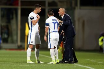 FLORENCE, ITALY - APRIL 22: Stefano Pioli manager of FC Internazionale talks to Roberto Gagliaridini and Gary Medelof FC Internazionale during the Serie A match between ACF Fiorentina v FC Internazionale at Stadio Artemio Franchi on April 22, 2017 in Florence, Italy.  (Photo by Gabriele Maltinti/Getty Images)