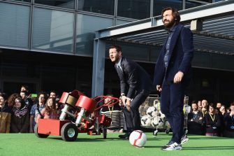 MILAN, ITALY - MARCH 29:  Alessandro Cattelan and Andrea Pirlo attend E poi c'e' Cattelan TV Show on March 29, 2018 in Milan, Italy.  (Photo by Stefania D'Alessandro/Getty Images)