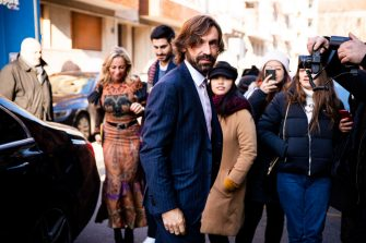 MILAN, ITALY - JANUARY 12: Andrea Pirlo, wearing a blue suit, is seen outside the Etro show during the Milan Men's Fashion Week on January 12, 2020 in Milan, Italy. (Photo by Claudio Lavenia/Getty Images)