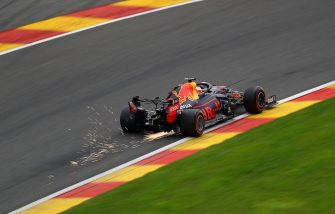SPA, BELGIUM - AUGUST 29: Sparks fly behind Max Verstappen of the Netherlands driving the (33) Aston Martin Red Bull Racing RB16 during qualifying for the F1 Grand Prix of Belgium at Circuit de Spa-Francorchamps on August 29, 2020 in Spa, Belgium. (Photo by Bryn Lennon/Getty Images)