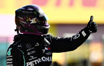 SCARPERIA, ITALY - SEPTEMBER 12: Pole position qualifier Lewis Hamilton of Great Britain and Mercedes GP celebrates in parc ferme during qualifying for the F1 Grand Prix of Tuscany at Mugello Circuit on September 12, 2020 in Scarperia, Italy. (Photo by Bryn Lennon/Getty Images)