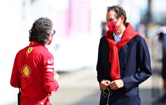 SCARPERIA, ITALY - SEPTEMBER 13: Chairman of Ferrari John Elkann talks with Laurent Mekies, Scuderia Ferrari Sporting Director in the Paddock before the F1 Grand Prix of Tuscany at Mugello Circuit on September 13, 2020 in Scarperia, Italy. (Photo by Peter Fox/Getty Images)