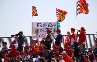 Spectators wait for the start of the Tuscany Formula One Grand Prix at the Mugello circuit in Scarperia e San Piero on September 13, 2020. (Photo by Bryn Lennon / POOL / AFP) (Photo by BRYN LENNON/POOL/AFP via Getty Images)