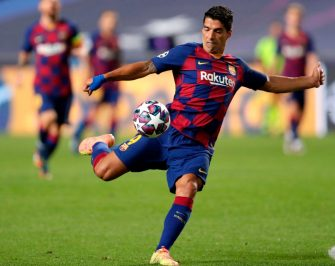 Barcelona's Uruguayan forward Luis Suarez kicks the ball during the UEFA Champions League quarter-final football match between Barcelona and Bayern Munich at the Luz stadium in Lisbon on August 14, 2020. (Photo by Manu Fernandez / POOL / AFP) (Photo by MANU FERNANDEZ/POOL/AFP via Getty Images)