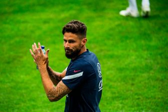 France's forward Olivier Giroud takes part in a training session on the eve of the UEFA Nations League football match between Sweden and France on September 4, 2020 at the Friends Arena in Stockholm. (Photo by Jonathan NACKSTRAND / AFP) (Photo by JONATHAN NACKSTRAND/AFP via Getty Images)