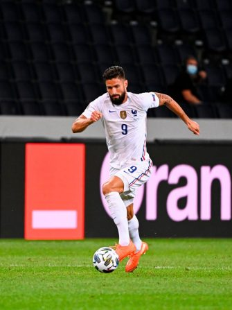 France's forward Olivier Giroud controls the ball during the UEFA Nations League football match between Sweden and France on September 5, 2020 at the Friends Arena in Solna, near Stockholm. (Photo by Jonathan NACKSTRAND / AFP) (Photo by JONATHAN NACKSTRAND/AFP via Getty Images)