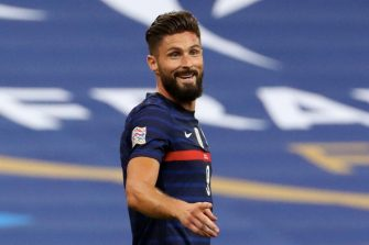 PARIS, FRANCE - SEPTEMBER 8: Olivier Giroud #9 of France celebrate his goal with teammates during the UEFA Nations League group stage match between  France and Croatia at Stade de France on September 8, 2020 in Paris, France. (Photo by Xavier Laine/Getty Images)