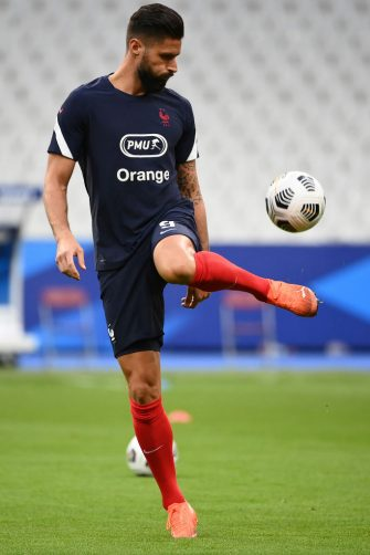 France's forward Olivier Giroud warms up before the UEFA Nations League Group 3 qualifying football match between France and Croatia at the Stade de France, in Saint-Denis, on September 8, 2020. (Photo by FRANCK FIFE / AFP) (Photo by FRANCK FIFE/AFP via Getty Images)