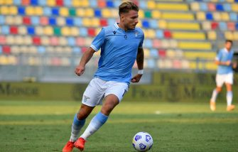 FROSINONE, ITALY - SEPTEMBER 12: Ciro Immobile of SS Lazio in action during the Pre-Season friendly match between Frosinone Calcio and SS Lazio at Stadio Benito Stirpe on September 12, 2020 in Frosinone, Italy. (Photo by Marco Rosi - SS Lazio/Getty Images)