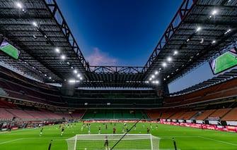 MILAN, ITALY - JULY 24: Stadium of AC Milan during the Italian Serie A   match between AC Milan v Atalanta Bergamo at the San Siro on July 24, 2020 in Milan Italy (Photo by Mattia Ozbot/Soccrates/Getty Images)