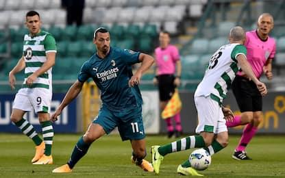Shamrock Rovers-Milan 0-2: gol di Ibrahimovic e Calhanoglu. LE FOTO