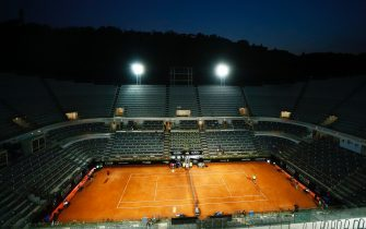 ROME, ITALY - SEPTEMBER 18: A general view of Campo Centrale during the round three match between Rafael Nadal of Spain and Dusan Lajovic of Serbia during day five of the Internazionali BNL d'Italia at Foro Italico on September 18, 2020 in Rome, Italy. (Photo by Angelo Carconi - Pool/Getty Images)