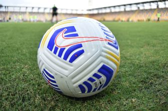 FROSINONE, ITALY - SEPTEMBER 12:  New Nike's Aerowsculpt official ball for the Serie A 2020-21 during the Pre-Season friendly match between Frosinone Calcio and SS Lazio at Stadio Benito Stirpe on September 12, 2020 in Frosinone, Italy.  (Photo by Giuseppe Bellini/Getty Images)