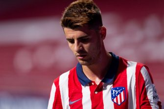MADRID, SPAIN - JULY 19: (BILD ZEITUNG OUT) Alvaro Morata of Atletico de Madrid looks dejected during the Liga match between Club Atletico de Madrid and Real Sociedad at Wanda Metropolitano on July 19, 2020 in Madrid, Spain. Football Stadiums around Europe remain empty due to the Coronavirus Pandemic as Government social distancing laws prohibit fans inside venues resulting in all fixtures being played behind closed doors. (Photo by Alejandro Rios/DeFodi Images via Getty Images)