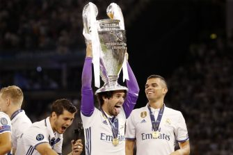 (L-R) Alvaro Morata of Real Madrid, Isco of Real Madrid, Pepe of Real Madrid with Champions League trophy, Coupe des clubs Champions Europeensduring the UEFA Champions League final match between Juventus FC and Real Madrid on June 3, 2017 at the Millennium Stadium in Cardiff, Wales(Photo by VI Images via Getty Images)