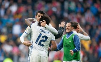 MADRID, SPAIN - APRIL 29:  Maecelo of Real Madrid celebrares with Alvaro Morata after scoring Real's 2nd goal  during the La Liga match between Real Madrid CF and Valencia CF at Estadio Santiago Bernabeu on April 29, 2017 in Madrid, Spain.  (Photo by Denis Doyle/Getty Images)
