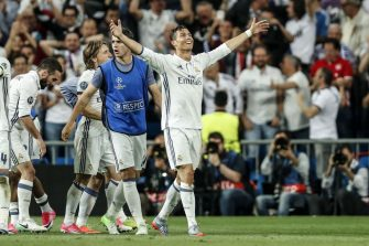 (L-R) Daniel Carvajal of Real Madrid, Luka Modric of Real Madrid, Alvaro Morata of Real Madrid, Cristiano Ronaldo of Real Madridduring the UEFA Champions League quarter final match between Real Madrid and Bayern Munich on April 18, 2017 at the Santiago Bernabeu stadium in Madrid, Spain(Photo by VI Images via Getty Images)