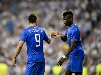 Juventus' Spanish forward Alvaro Morata (L) celebrates with teammate Juventus' French midfielder Paul Pogba after scoring during the UEFA Champions League semifinal second leg football match Real Madrid FC vs Juventus at the Santiago Bernabeu stadium in Madrid on May 13, 2015.  AFP PHOTO / DANI POZO        (Photo credit should read DANI POZO/AFP via Getty Images)
