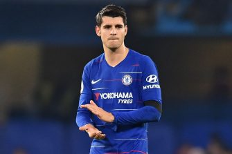 Chelsea's Spanish striker Alvaro Morata applauds supporters on the pitch after the English Premier League football match between Chelsea and Crystal Palace at Stamford Bridge in London on November 4, 2018. - Chelsea won the game 3-1. (Photo by Glyn KIRK / AFP) / RESTRICTED TO EDITORIAL USE. No use with unauthorized audio, video, data, fixture lists, club/league logos or 'live' services. Online in-match use limited to 120 images. An additional 40 images may be used in extra time. No video emulation. Social media in-match use limited to 120 images. An additional 40 images may be used in extra time. No use in betting publications, games or single club/league/player publications. /         (Photo credit should read GLYN KIRK/AFP via Getty Images)