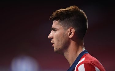 MADRID, SPAIN - JULY 19:  Alvaro Morata of Atletico Madrid looks on  during the Liga match between  Atletico de Madrid and Real Sociedad at Wanda Metropolitano on July 19, 2020 in Madrid, Spain. Football Stadiums around Europe remain empty due to the Coronavirus Pandemic as Government social distancing laws prohibit fans inside venues resulting in all fixtures being played behind closed doors. (Photo by Denis Doyle/Getty Images)