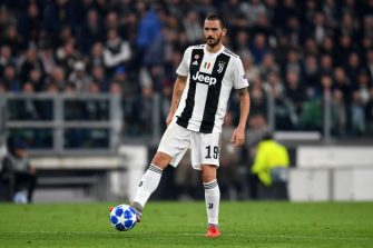 TURIN,ITALY - NOVEMBER 7: Leonardo Bonucci of Juventus in action during the Group H match of the UEFA Champions League between Juventus and Manchester United at Juventus Stadium on November 07, 2018 in Turin, Italy. (Photo by Etsuo Hara/Getty Images)