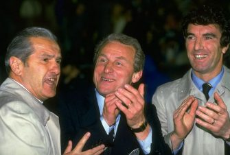 16 May1984:  Giovanni Trapattoni (centre) and Dino Zoff (right), the Juventus management team, celebrate after their victory in the European Cup Winners Cup final against Porto at the St. Jakob Stadium in Basle, Switzerland. Juventus won the match 2-1. \Mandatory Credit: David  Cannon/Allsport