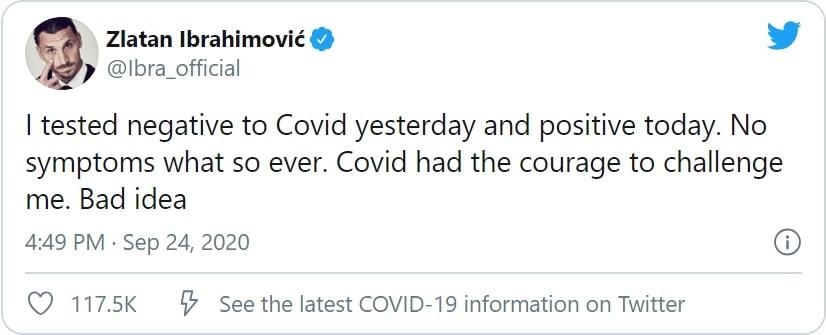 Ibrahimovic tweet covid
