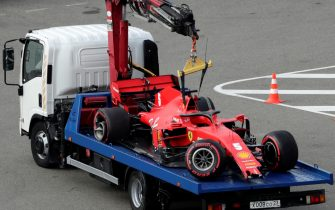 A truck transports the car of Ferrari's German driver Sebastian Vettel following a crash during the qualifying session for the Formula One Russian Grand Prix at the Sochi Autodrom Circuit in Sochi on September 26, 2020. (Photo by Pavel Golovkin / POOL / AFP) (Photo by PAVEL GOLOVKIN/POOL/AFP via Getty Images)