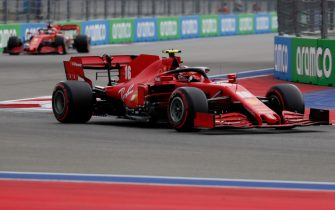 Ferrari's Monegasque driver Charles Leclerc (R) steers his car ahead of Ferrari's German driver Sebastian Vettel during the qualifying session for the Formula One Russian Grand Prix at the Sochi Autodrom Circuit in Sochi on September 26, 2020. (Photo by YURI KOCHETKOV / POOL / AFP) (Photo by YURI KOCHETKOV/POOL/AFP via Getty Images)