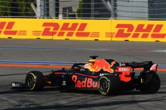 SOCHI, RUSSIA - SEPTEMBER 27: Max Verstappen of the Netherlands driving the (33) Aston Martin Red Bull Racing RB16 on track during the F1 Grand Prix of Russia at Sochi Autodrom on September 27, 2020 in Sochi, Russia. (Photo by Kirill Kudryavtsev -