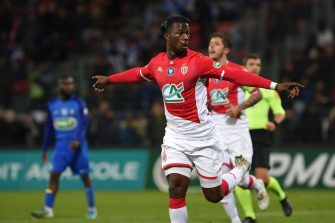 Monaco's Senegalese forward Keita Balde celebrates after scoring a goal during the French Cup football match between Saint-Pryve-Saint-Hilaire and AS Monaco at the La Source Stadium in Orleans, Central France on January 20, 2020. (Photo by GUILLAUME SOUVANT / AFP) (Photo by GUILLAUME SOUVANT/AFP via Getty Images)