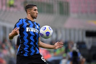 MILAN, ITALY - SEPTEMBER 19: Achraf Hakimi of FC Internazionale  during the    match between Internazionale v Pisa at the Stadio Giuseppe Meazza on September 19, 2020 in Milan Italy (Photo by Mattia Ozbot/Soccrates/Getty Images)
