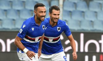 GENOA, ITALY - SEPTEMBER 26: Fabio Quagliarella and Antonio Candreva of UC Sampdoria celebrate after first goal during the Serie A match between UC Sampdoria and Benevento Calcio at Stadio Luigi Ferraris on September 26, 2020 in Genoa, Italy. (Photo by Paolo Rattini/Getty Images)
